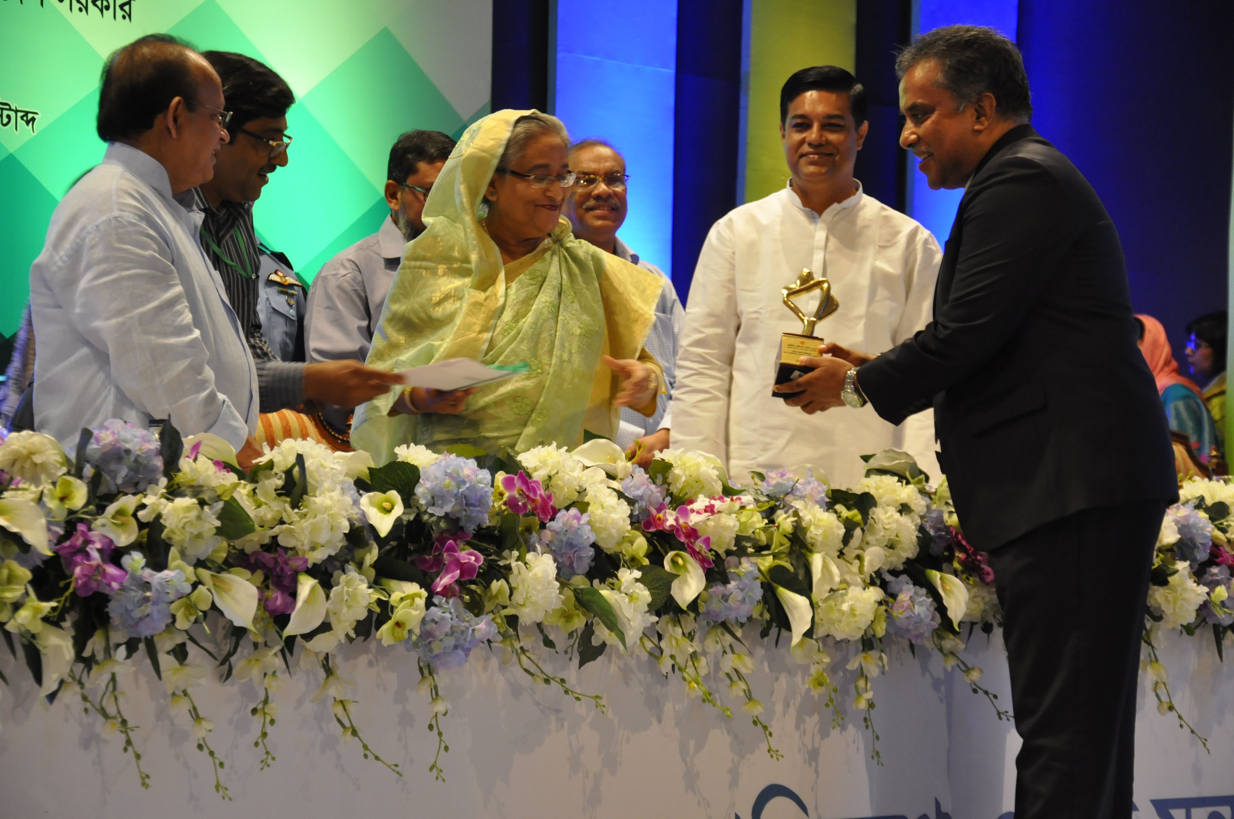 Mr. Md. Fazlul Hoque is receiving National Award on Environments 2016 from Prime Minister Sheikh Hasina