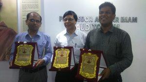 From left: Engr. Md. Mostafizur Rahman Manik, Director, Bangladesh Investment Development Authority; Engr. Mahbubar Rahman, Managing Director, Scarlet Services Ltd; Engr. Sumayel Md. Mollik, Vice President, Anlima Yarn Dyeing Ltd.
