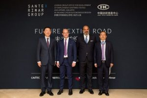 1.From left to right: Zhao Qing, Xinjiang Uygur Autonomous Region Vice Chairman; Stefano Gallucci, Santex Rimar Group CEO; Ferdinando Businaro, Santex Rimar Group President; Liang Yong, Xinjiang Uygur Autonomous Region People's Government Deputy Secretary-General, Xinjiang Textile and Apparel Employment Leading Group Office Director
