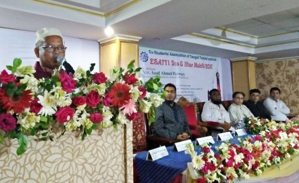Photo: Chief Guest Mr. Azad Ahmed Patwary, Director & Chief Executive Office of Knit Plus Ltd. delivering his speech on ESATTI Iftar Mahfil 2017