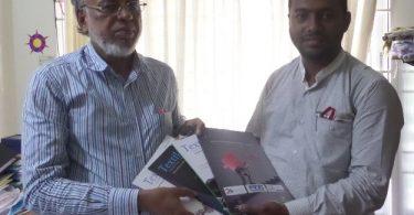 (from left) Prof. Dr. Engr. Mafzal Ahmed, Dean, Faculty of Science & Engineering; M A Islam Riyadh, Editor, Textile Focus