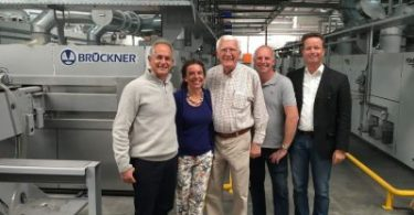 From left to right: Sam Schaffer (CEO and shareholder of Rotex), Regina Brückner (Owner Brückner), Siegfried Rohner (Director and /Shareholder of Rotex), Martin Rohner (Technical Director Rotex), Axel Pieper +(CTO Brück-ner)5555577+8