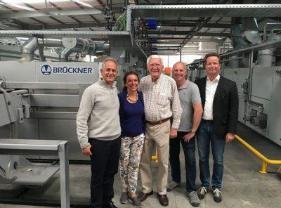 From left to right: Sam Schaffer (CEO and shareholder of Rotex), Regina Brückner (Owner Brückner), Siegfried Rohner (Director and /Shareholder of Rotex), Martin Rohner (Technical Director Rotex), Axel Pieper +(CTO Brück-ner)5555577+8