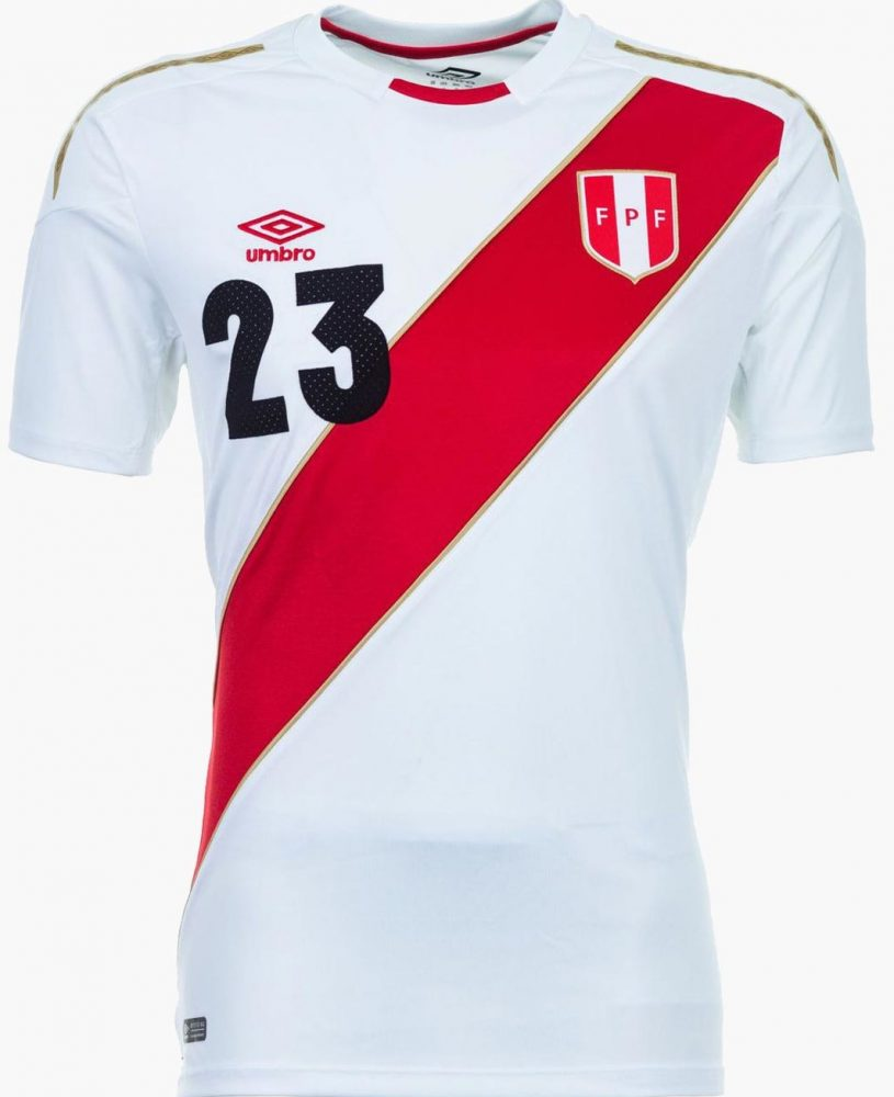 fffe515f6fb The Peru 2018 World Cup third kit uses the same Umbro silhouette as the  team's new home jersey. It uses Peru's traditional alternated red as its  main color ...