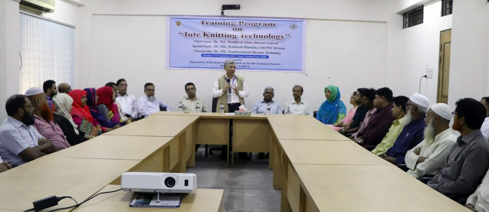 Picture: Participants with guest in the training program on Jute Knitting Technology