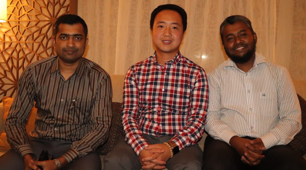 Photo: (from left Mr. Joy Saha,Managing Director, Sumcon Biotechnology Ltd.; Mr. Charlie Yee, VP of Business Development, Peli Bio-chem Technology (Shanghai) Co., Ltd; M A Islam Riyadh, Editor, Textile Focus.