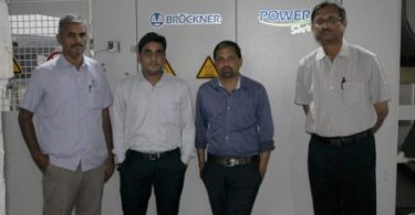 From left to right: Mr. Shanmughsundaram (Senior Service Engineer, Voltas), Mr. Manish  Patidar (Sales Engineer, Voltas), Mr. Ramnath Narsimha (CEO, Ganga Fashions), Mr. Deepak Sabarad (Senior Sales Manager, Voltas)