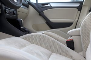 Abstract photograph of modern luxury vehicle interior.