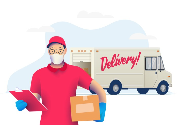 Delivery courier man with medical protective mask on his face holding package with delivery truck on background. Delivery during quarantine time. Vector illustration.