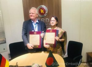 Ms. Fatima Yasmin, Secretary, Economic Relations Divisions, Ministry of Finance of Bangladesh and H.E. Peter Fahrenholtz, Ambassador of the Federal Republic of Germany to Bangladesh, signed the agreement on behalf of the two governments