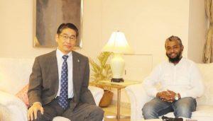 Photo: H.E. ITO Naoki, Ambassador Extraordinary and Plenipotentiary of Japan to the People's Republic of Bangladesh; M A Islam Riyadh, Editor, Textile Focus